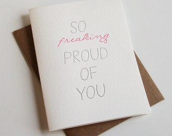 Letterpress Congratulations card - So Proud