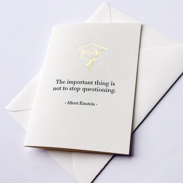 Letterpress Graduation Congratulations card - Questioning