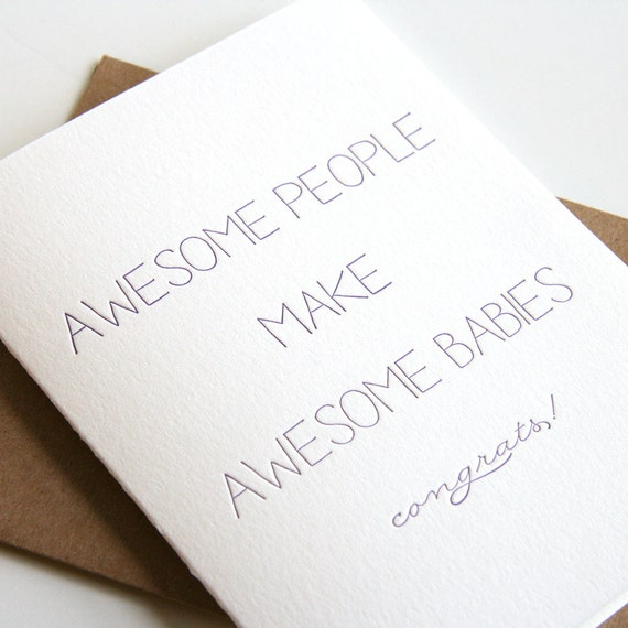60/% off SALE Baby Congratulations Letterpress card Welcome to Earth