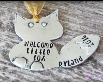 Little Fox Ornament, Hand Stamped, First Christmas Ornament, New Baby Ornament, Baby's First Christmas, Newborn Ornament, Baby's Keepsake