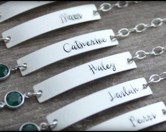 Bar Bracelet, Silver Bar Bracelet, Hand Stamped Bar Bracelet, Senior Bracelet,  Hand Stamped Bar Bracelet, Bridesmaid Bar Bracelet, Mama Mia