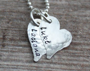 Hand Stamped Heart Necklace, Tiny Hearts, Valentine's Necklace, Love Necklace, Mommy Necklace, Child's Name, Memorial Necklace, Mama Mia