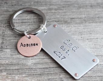 New Dad Keychain, Dad Keychain, Hand Stamped Dad Keychain, Father's Day Gift, Custom Hand Stamped Keychain, Keychain for Dad, Gift for Dad