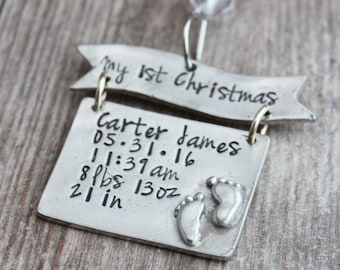 Hand Stamped First Christmas Ornament, New Baby Ornament,Baby's First Christmas, Newborn Ornament, Hand Stamped Ornament, Baby's Keepsake