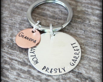 Sterling Silver Hand Stamped Keychain, Hand Stamped Keyring, Grandpa's Keychain, Grandma's Keychain, Grandparent's Gift, Mama Mia