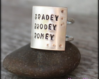 Wide Hand Stamped Name Ring, Personalized Name Ring, Mothers Ring, Wide Ring, Hand Stamped Ring, Mixed Metal Ring, Stackable Ring, Mama Mia