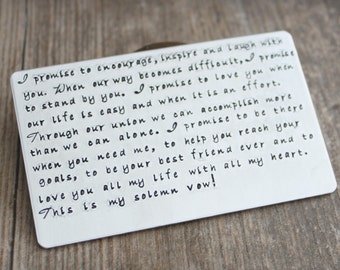 Hand Stamped Wallet Card, Aluminum Wallet Card, Wedding Vow Card, Anniversary Gift, Keepsake Card, Graduation Gift, Mama Mia,
