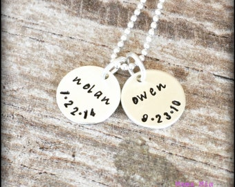 Hand Stamped Necklace, Hand Stamped Name Necklace, Personalized Necklace, Two Disc Necklace, Tiny Token Necklace, Mommy Necklace, Mama Mia