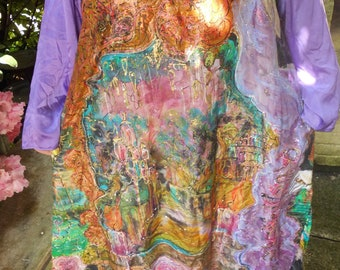 hand painted long sleeved purple copper and black silk dress motif fairy and landscape size XL.