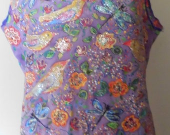 Hand painted  purple silk top motif birds and flowers size M.