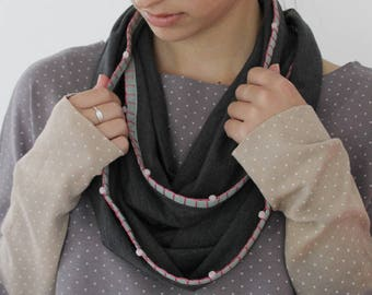 Women's Scarf, Handmade Scarf, Knit Scarf, Infinity Scarf, Cowl, Gray Scarf, Cotton Scarf, Chunky Scarf, Loop Scarf, Hooded Circle Scarf
