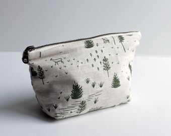 Homestead Small Traveler Pouch. Project Bag. Zipper Pouch. Cosmetic bag. Pencil Case.
