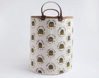 Home Large Basket. Hamper. Bucket Bag. Storage Bag. Tote. Yarn Basket. Knitting Bag. Fabric Bucket. Laundry basket. Mustard.