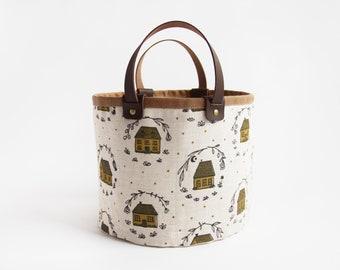 Home Small Basket. Bucket Bag. Storage Bag. Project Bag. Tote. Yarn Basket. Knitting Bag. Fabric Bucket. Mustard.