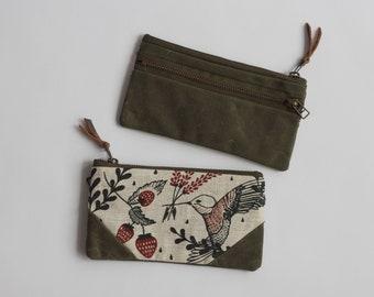 Hummingbirds Small Double-Zipper Pouch. Wallet. Notions Pouch. Zipper Pouch. Pencil Case.