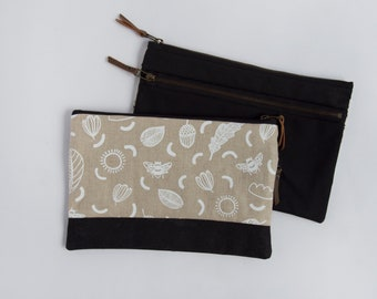 Sunny Day Large Double-Zipper Pouch. Project Bag. Notions Pouch. Zipper Pouch. Cosmetic bag. Pencil Case. Ipad Case. Small Clutch.