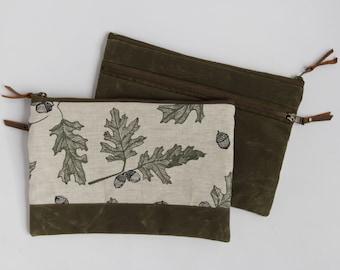 Oak Large Double-Zipper Pouch. Project Bag. Notions Pouch. Zipper Pouch. Cosmetic bag. Pencil Case. Ipad Case.