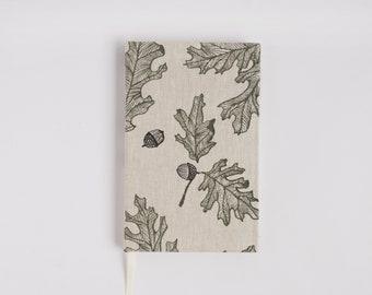 Oak Lined Journal. Notebook. Hardcover Journal. Linen Bound Book.