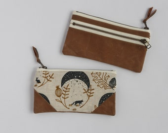 Moons Small Double-Zipper Pouch. Wallet. Notions Pouch. Zipper Pouch. Pencil Case.