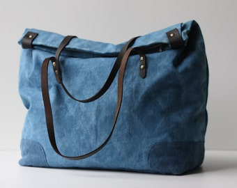 Indigo Dyed One of a Kind Organic Weekend Bag: no.4