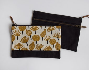 Petals Large Double-Zipper Pouch. Project Bag. Notions Pouch. Zipper Pouch. Cosmetic bag. Pencil Case. Ipad Case.