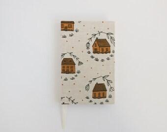 Coral Home Blank Journal. Notebook. Hardcover Journal. Linen Bound Book. Sketchbook.