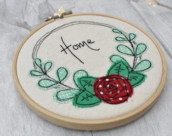 Red Rose Flower picture hoop - wreath - embroidery hoop -Gift for a Home