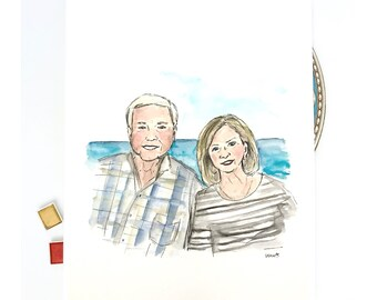 Custom couple portrait from picture, original watercolor and ink on archival quality watercolor paper, 8x10 illustration