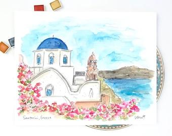 Santorini, Greece watercolor illustration print, Archival Quality 8x10 or 11x14