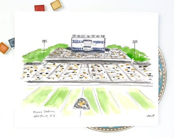 West Point  illustration Army Mules football stadium watercolor art print