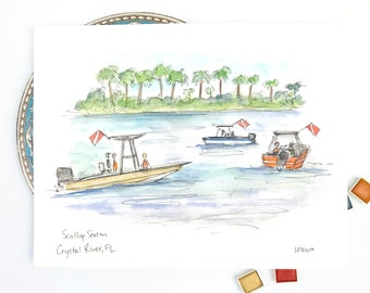 Crystal River, Florida Manatees, Scalloping Illustration, gulf coast, Three Sisters Springs Coastal Art, watercolor print 8x10