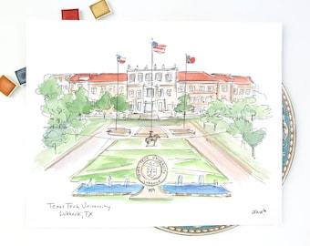 Texas Tech Stadium, watercolor illustration, College football, Graduation Gift, 8x10 or 11x14 print