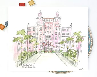 The Don CeSar Hotel, St Pete Beach Florida Watercolor and Ink Illustration, Personalized Gallery Wall Art, 8x10 or 11x14 print