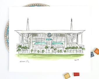 Miami Dolphins, Hard Rock Stadium illustration, Miami Football Stadium, Archival Quality 8x10 or 11x14 print