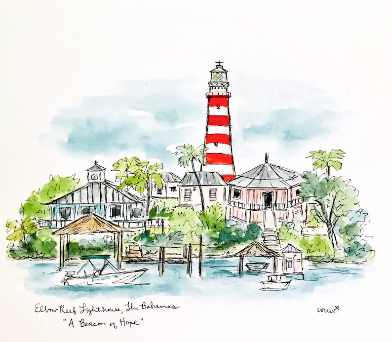 Pray for Bahamas Lighthouse Gallery Wall Art Hurricane image 0