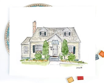 Custom home portrait, House Illustration, Watercolor original artwork, personalized wedding gift, new home, house warming realtor gift