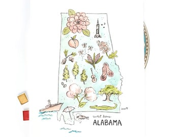 Alabama State Art Print, Personalized with your Favorite Town, sweet home Alabama Housewarming Gift, 8x10 or 11x14 print