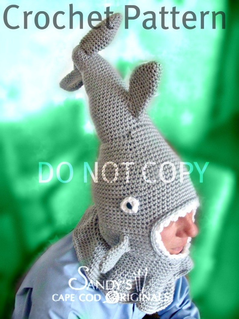 73ec1285a84 Shark Hat for Teens and Adults Crochet Pattern PDF 564