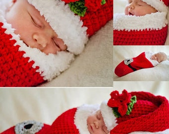 Little Santa Crochet Pattern Cocoon and Hat PDF 311