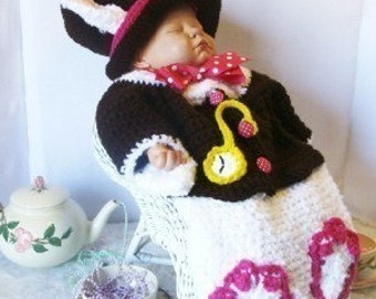 I Am Late For A Very Important Date Rabbit Hatter Cocoon and Hat Crochet Pattern PDF 385