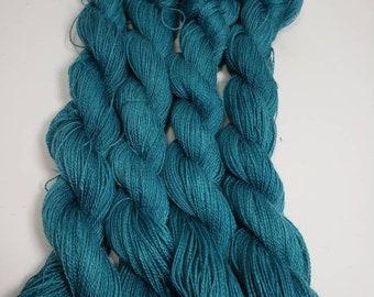 100% Suri Alpaca Yarn, Locally Raised Alpaca,  Teal Alpaca Yarn, Hand Dyed, 300yds each, Teal20