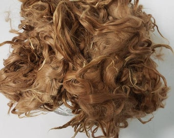 washed and combed natural fibers suri alpaca locks 923cm GRANDIOSO light golden brown all natural prepared for doll hair: reroot or wig