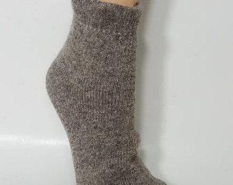 Missouri Grown Alpaca Socks, Alpaca and Wool Socks,  Heavy Weight Shortie Sock, Slipper Sock, Thick and Warm, Natural Grey/Brown Color