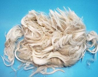 """Suri Alpaca Locks, 5"""" Natural White Locks, White Doll Hair, Wig Making, Tail Spinning, Fiber Arts, Cal20"""