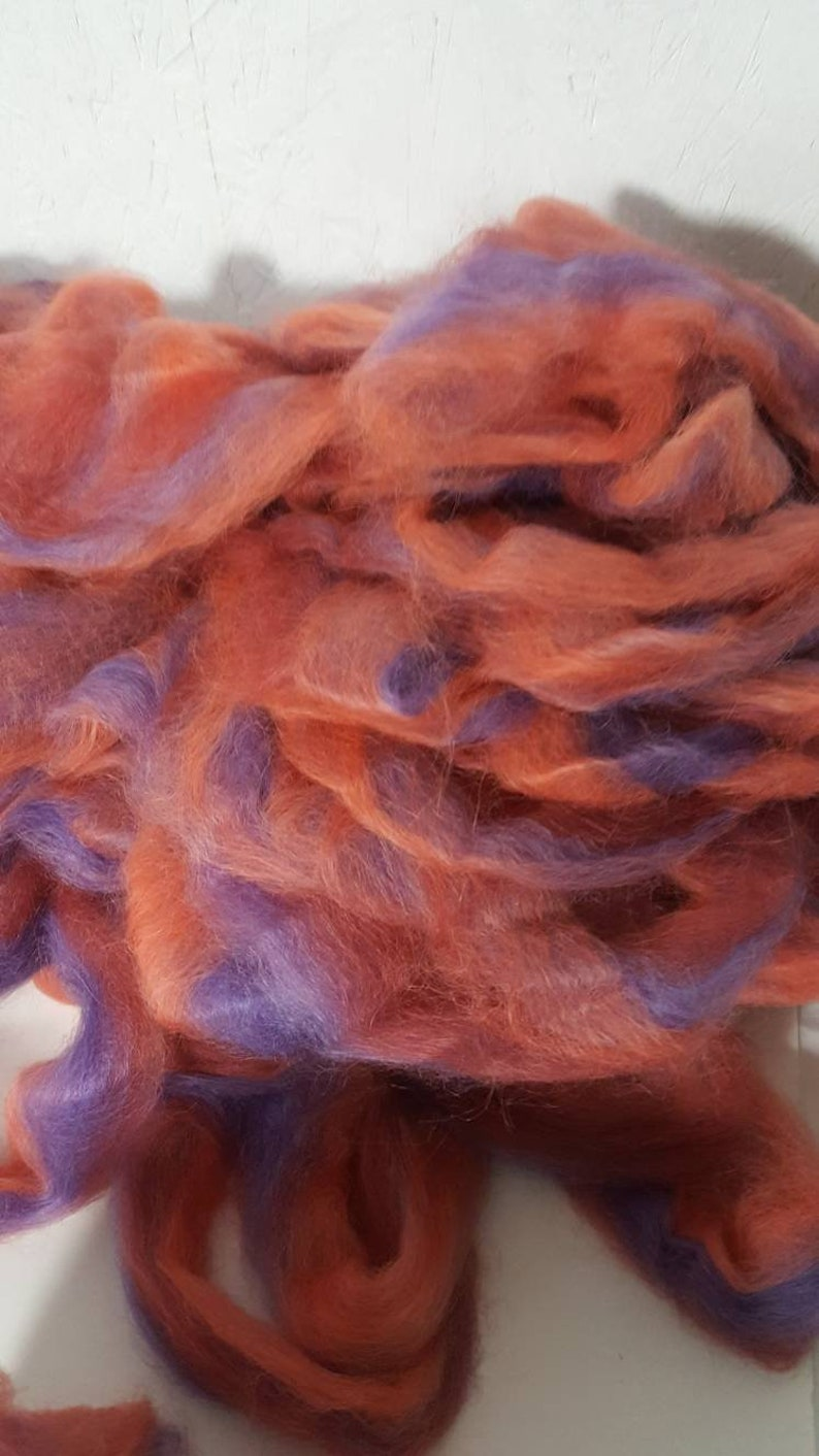 Hand Dyed Silky Soft Roving Striped Suri Alpaca Roving Suri Alpaca Roving Tulip Garden