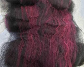 Suri Alpaca/Merino Batts,  Hand Carded Batts, Spinning Fiber, Felting Fiber, Sock Yarn Fiber, Black Berry