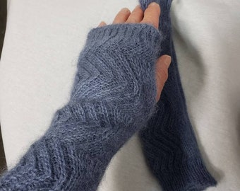 Alpaca Wrist Warmers, Alpaca Gloves, Fingerless Gloves, Knit with USA Grown Alpaca, One Size, Blue Gloves
