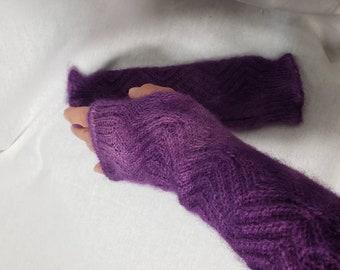 Alpaca Wrist Warmers, Alpaca Gloves, Fingerless Gloves, Knit with USA Grown Alpaca, One Size, Purple Gloves