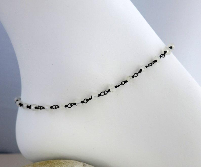 Moonstone Bracelet or Anklet Choose Length and Clasp image 0