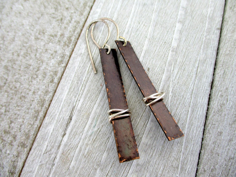 Sterling Silver on Copper Rectangle Earrings Sterling image 0